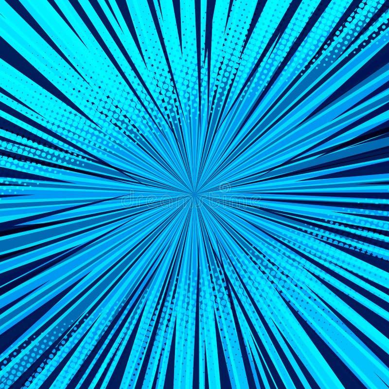 Fundo azul cômico abstrato para o projeto do pop art do estilo Contexto retro do molde da explosão ilustração stock