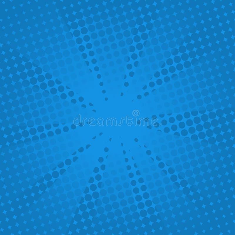 Fundo azul cômico dos raios retros ilustração do vetor