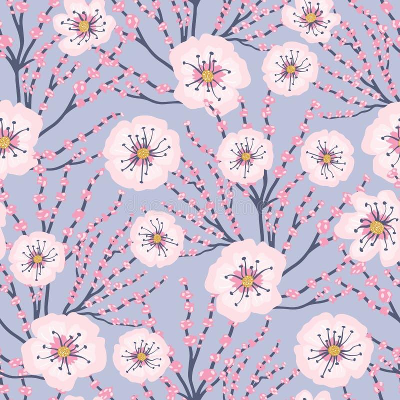 Fundo azul Cherry Blossom Meadows Seamless Pattern das flores do rosa do vetor ilustração stock