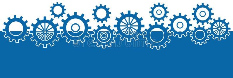 Fundo azul com as engrenagens horizontais ilustração do vetor