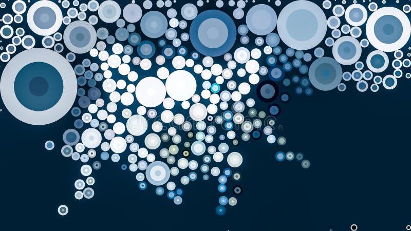 Fundo azul com as formas circulares abstratas ilustração stock