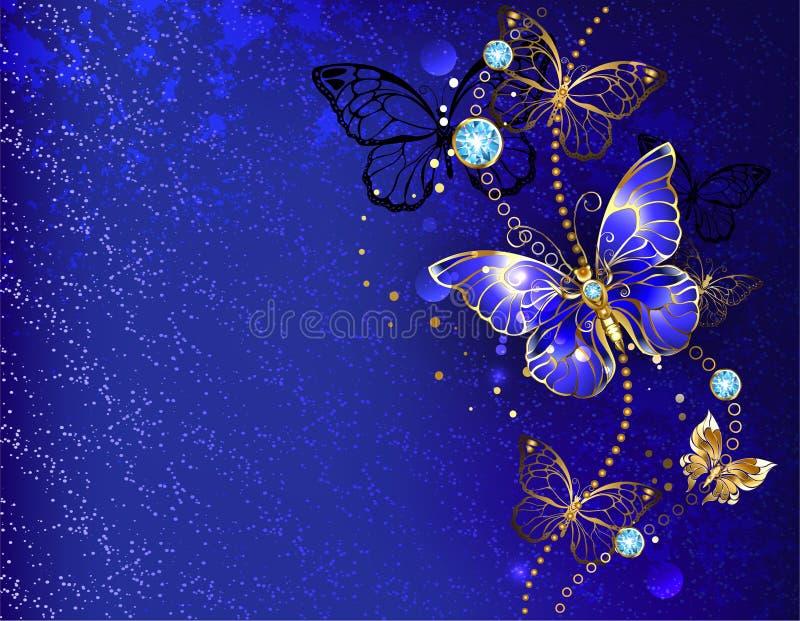 Fundo azul com borboleta da safira ilustração stock