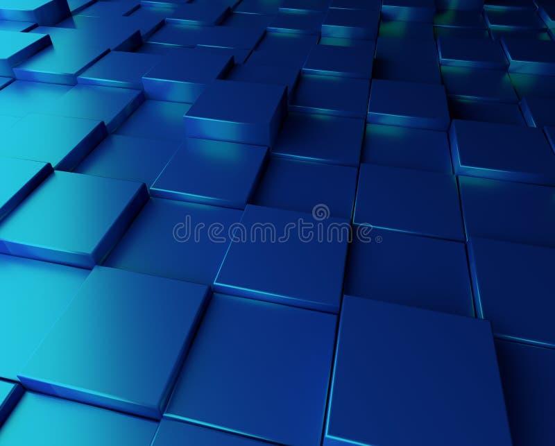 Fundo azul com cubos ilustração royalty free