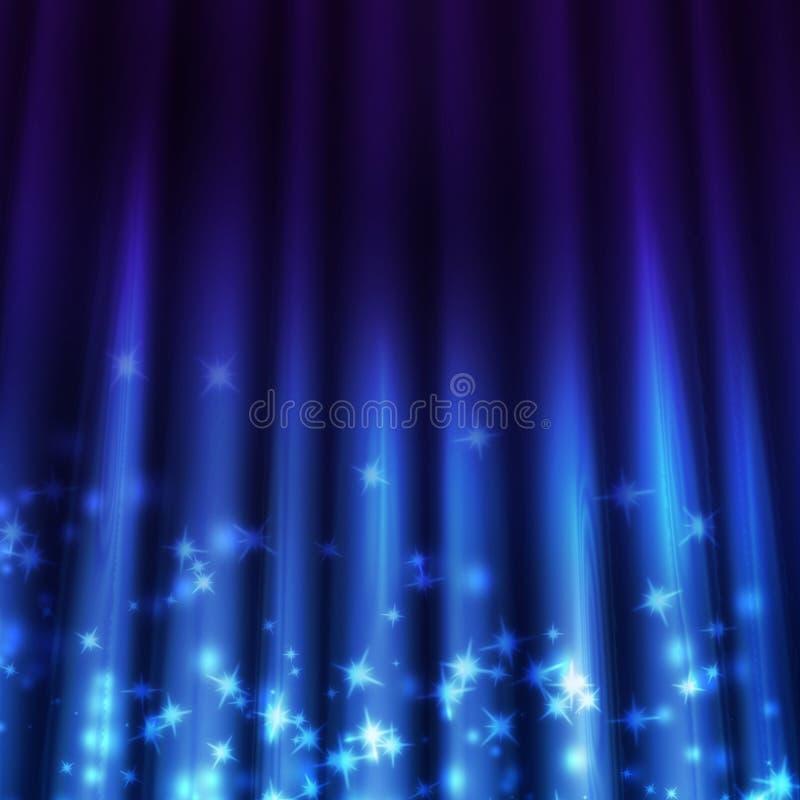 Fundo azul com feixes de luz ilustração do vetor