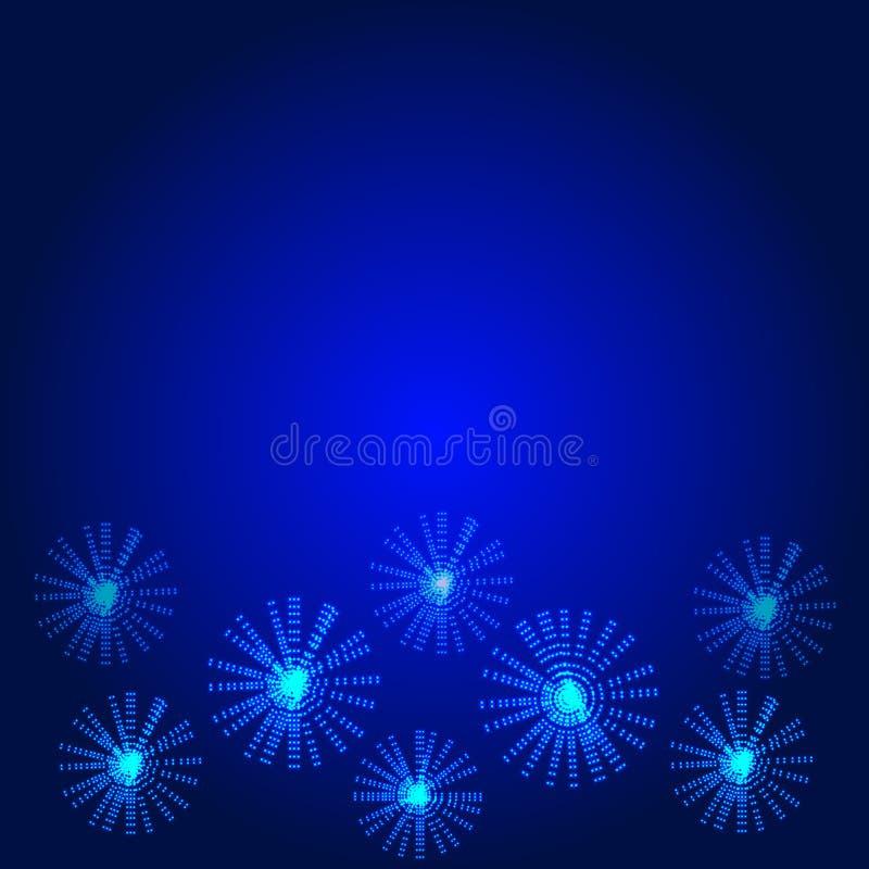 Fundo azul com flores de incandescência Ilustração ilustração stock