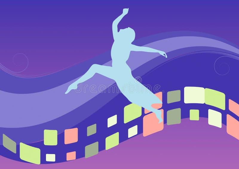 Fundo azul com menina de dança. ilustração do vetor