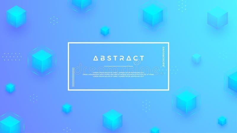 Fundo azul com os cubos modernos de uma combinação Fundos geométricos abstratos no estilo 3D ilustração royalty free