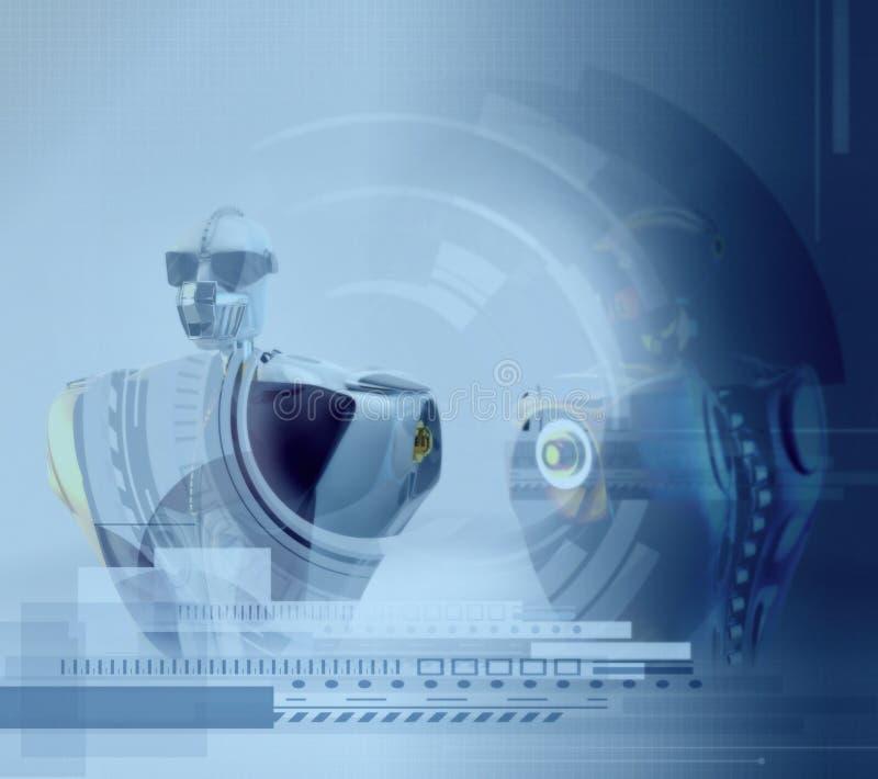 Fundo azul com robôs Projeto conceptual da tecnologia robotic ilustração royalty free