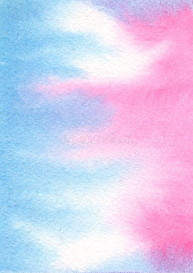 Fundo azul cor-de-rosa da aquarela da cor fotografia de stock royalty free