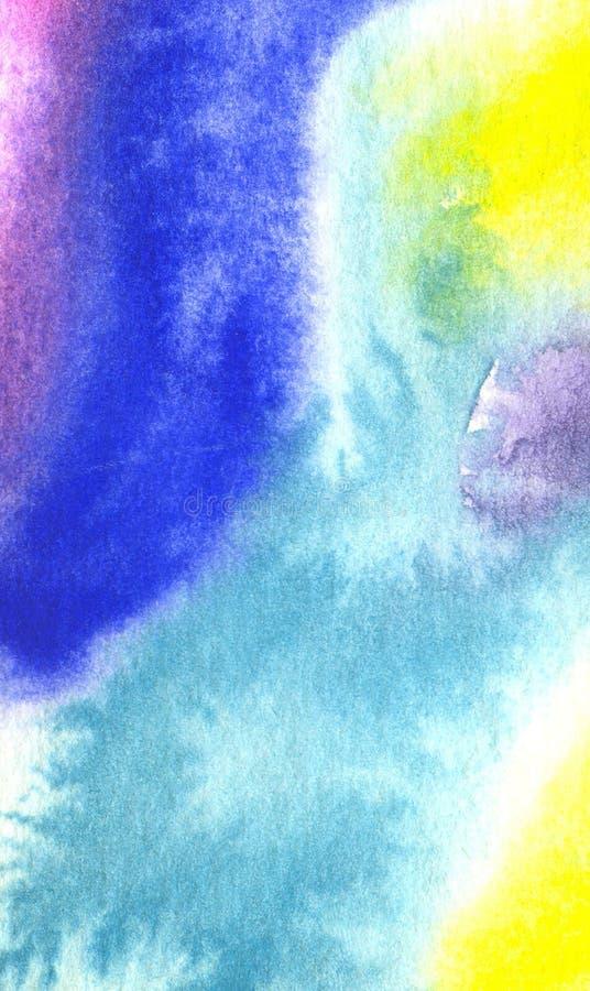 Fundo azul da aquarela com teste padrão e textura abstratos ilustração stock