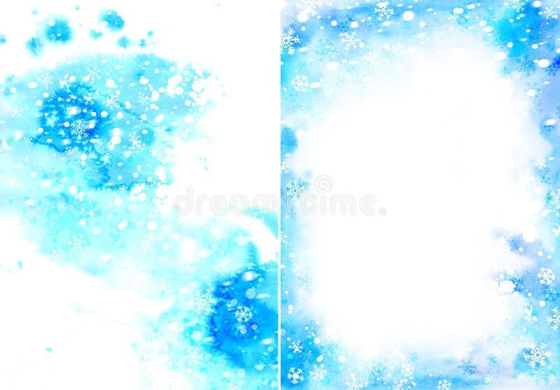 Fundo azul da aquarela do Natal com flocos de neve ilustração do vetor