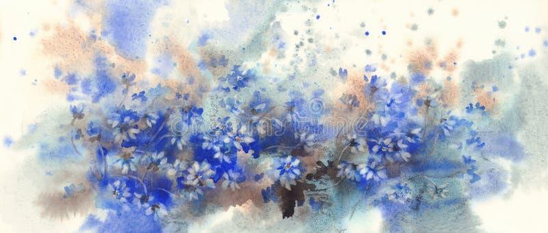 Fundo azul da aquarela da floresta das flores do hepatica na primavera fotografia de stock royalty free