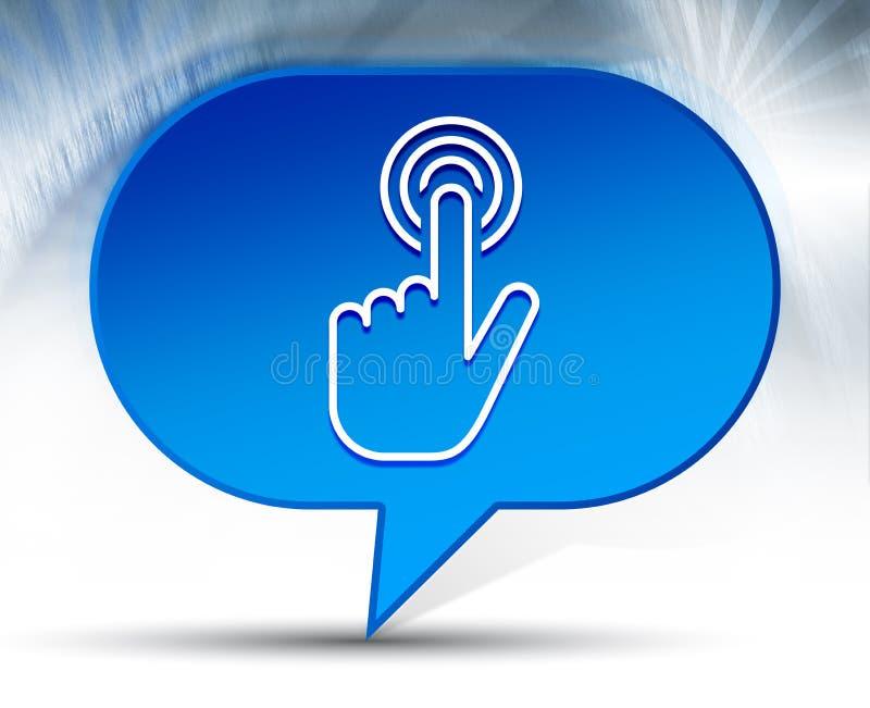 Fundo azul da bolha do ícone do clique do cursor da mão ilustração stock