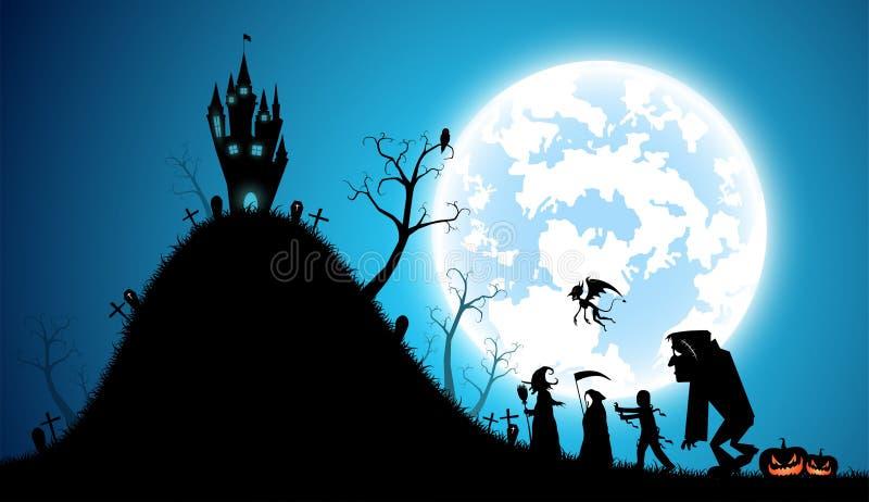 Fundo azul da ilustração, conceito do Dia das Bruxas do festival ilustração stock