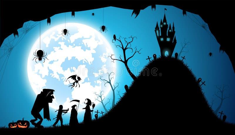 Fundo azul da ilustração, conceito do Dia das Bruxas do festival ilustração royalty free