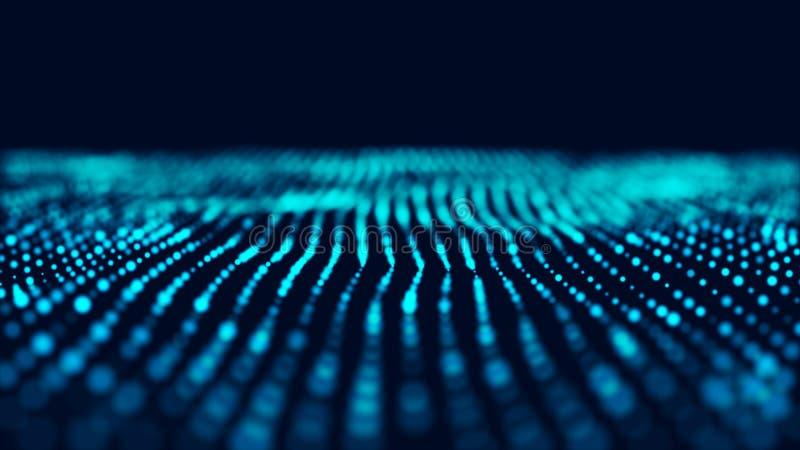 Fundo azul da inform?tica  Visualiza??o grande dos dados Paisagem da tecnologia rendi??o 3d ilustração do vetor