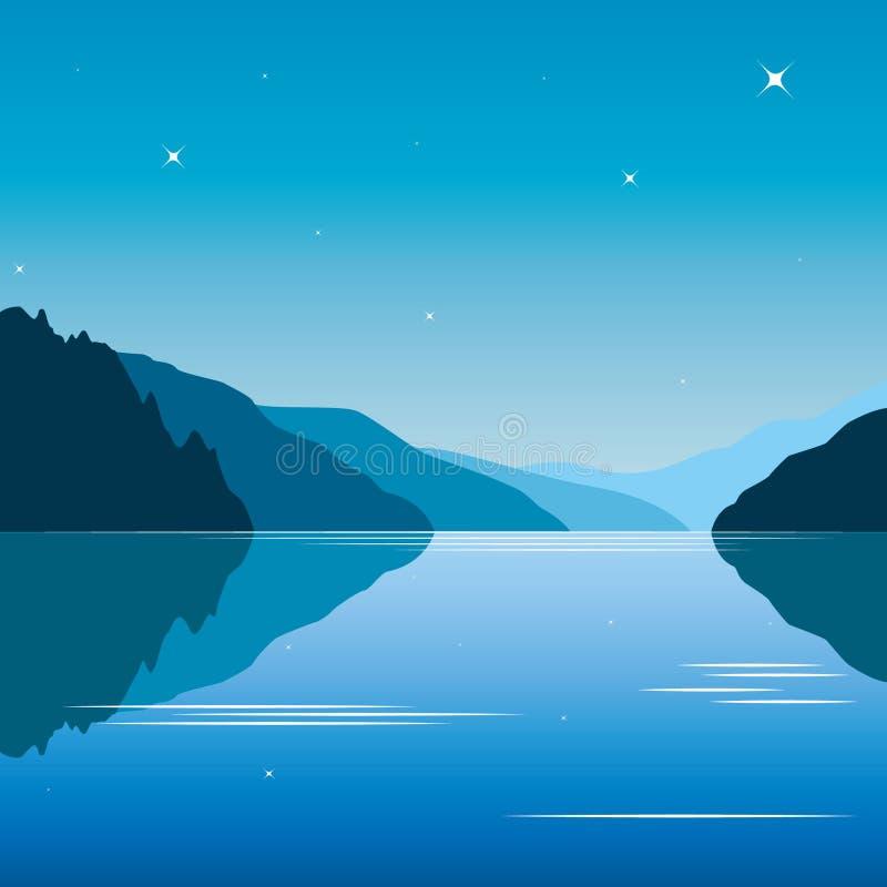 Fundo azul da lagoa com montanhas ilustração do vetor