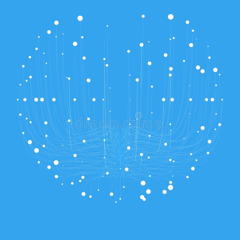 Fundo azul da malha da esfera do vetor abstrato Bioluminescência dos tentáculos Cartão futurista do estilo ilustração stock