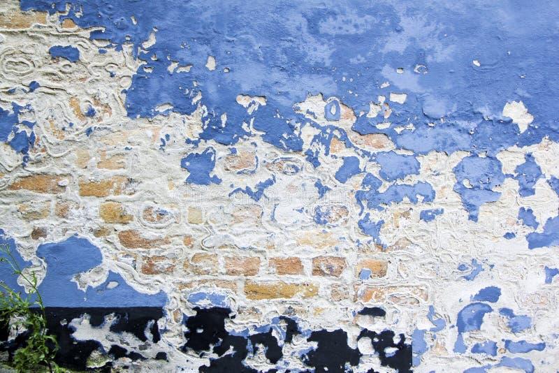 Fundo azul da parede de tijolo da casca da pintura fotografia de stock
