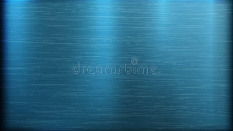 Fundo azul da tecnologia do sumário do metal Textura lustrada, escovada Chrome, prata, aço, alumínio Ilustração do vetor ilustração do vetor