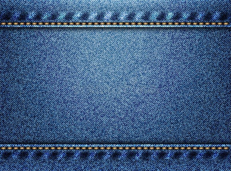 Fundo azul da textura da sarja de Nimes ilustração royalty free