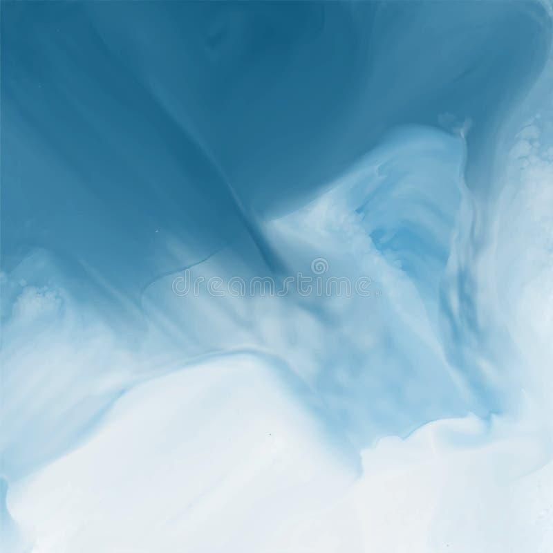 Fundo azul da textura do fluxo da aquarela ilustração stock