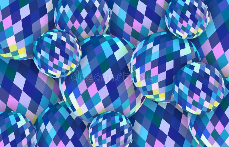 Fundo azul das bolas de cristal 3d Ilustração abstrata das esferas de vidro ilustração royalty free
