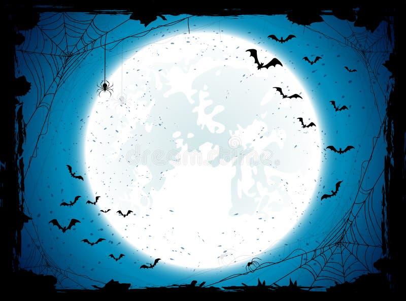 Fundo azul de Dia das Bruxas com bastões ilustração do vetor