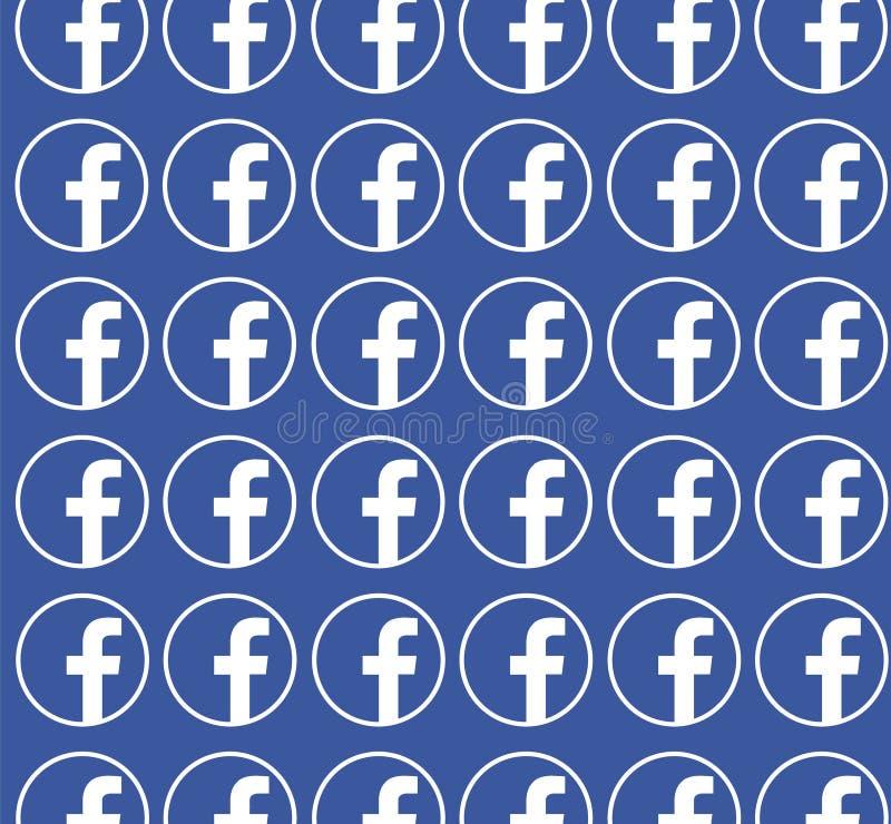 Fundo azul de Facebook com teste padrão do logotipo Projeto limpo do vetor Conceito social dos media ilustração do vetor