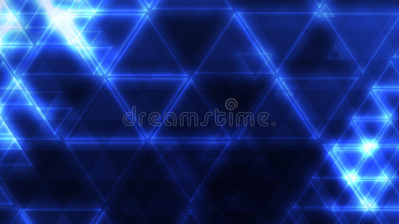 Fundo azul de incandescência do triângulo fotos de stock royalty free