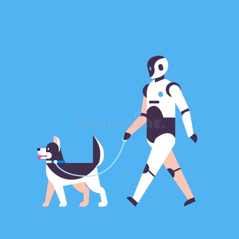 Fundo azul de passeio do conceito da tecnologia de inteligência artificial do bot do ajudante da casota do robô moderno horizonta ilustração stock