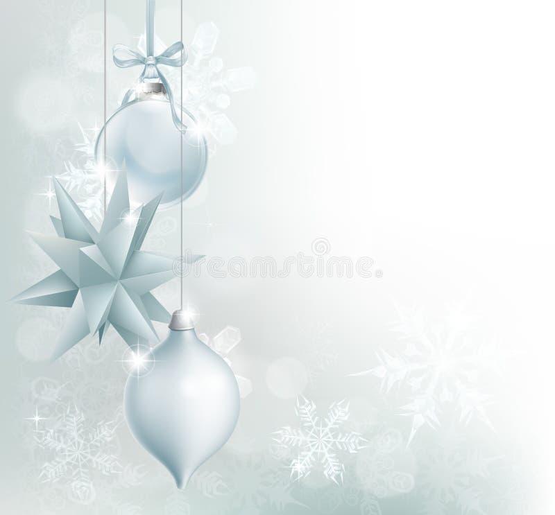 Fundo azul de prata do bauble do Natal do floco de neve ilustração do vetor