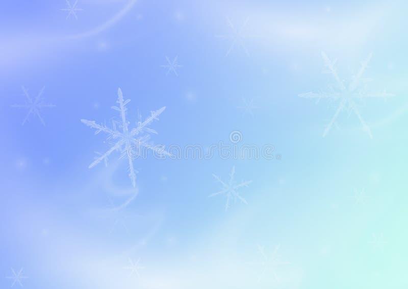 Fundo azul delicado do Natal do inverno de Asbtarktny com flocos de neve imagens de stock royalty free