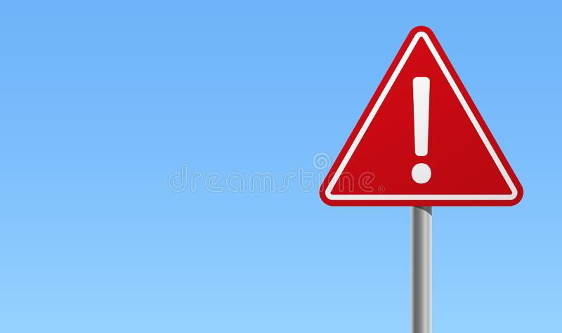 Fundo azul do ícone de advertência vermelho da marca de exclamação do sinal ilustração stock