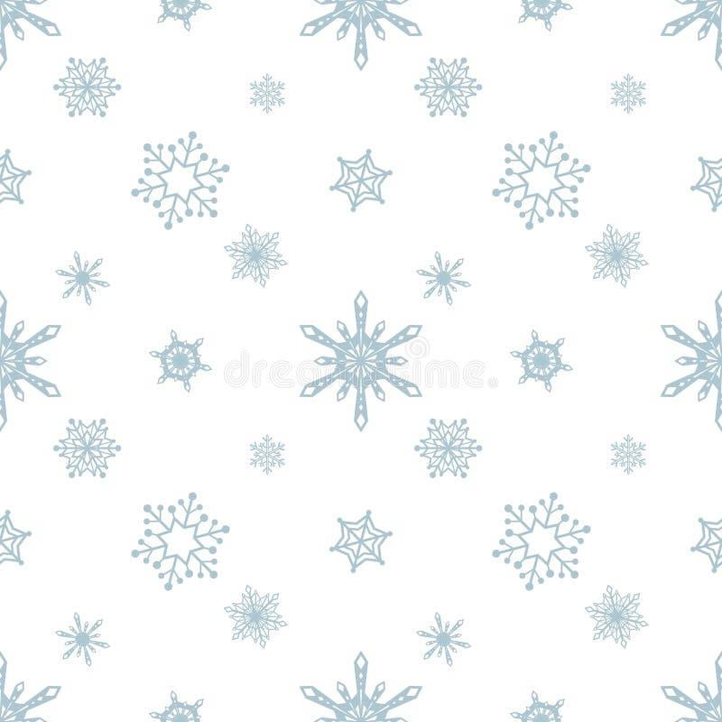 Fundo azul do branco da cor do teste padrão do floco de neve ilustração do vetor