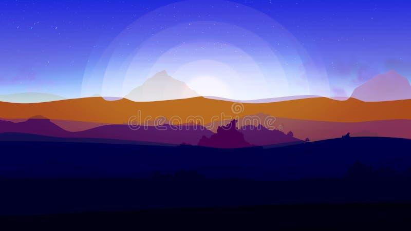 Fundo azul do céu do por do sol, paisagem abstrata da natureza animation Luz do sol do alvorecer, laranja bonita, roxo e azul ilustração royalty free