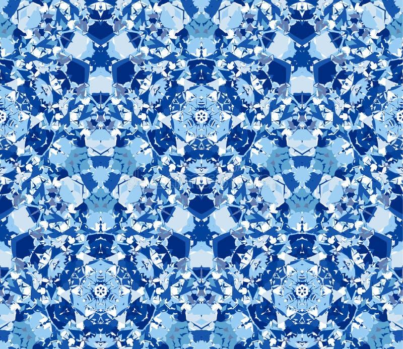 Fundo azul do caleidoscópio Teste padrão sem emenda composto dos elementos do sumário da cor situados no fundo branco ilustração do vetor