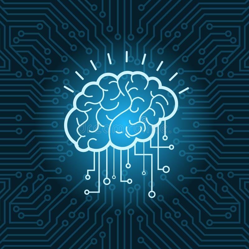 Fundo azul do circuito de Brain Digital Form Icon Over ilustração stock