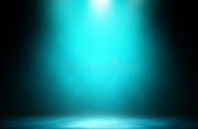 Fundo azul do estúdio do fumo da fase do projetor imagem de stock