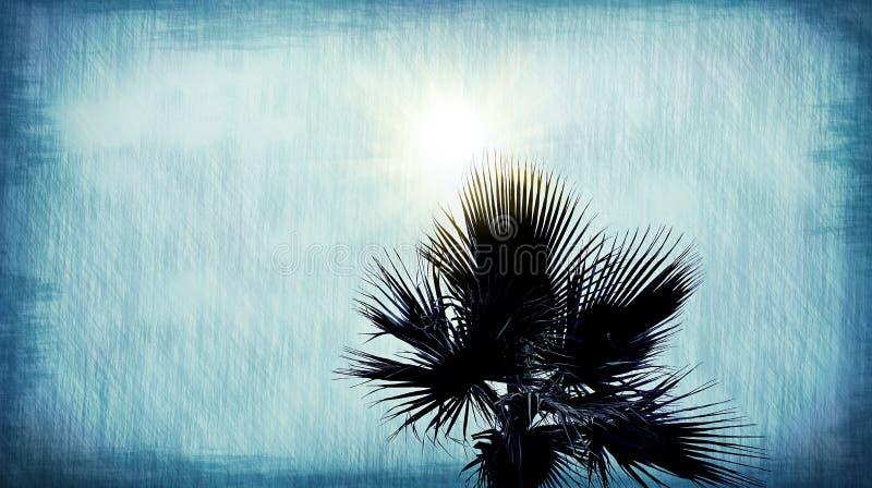 Fundo azul do grunge do sumário da palmeira ilustração do vetor