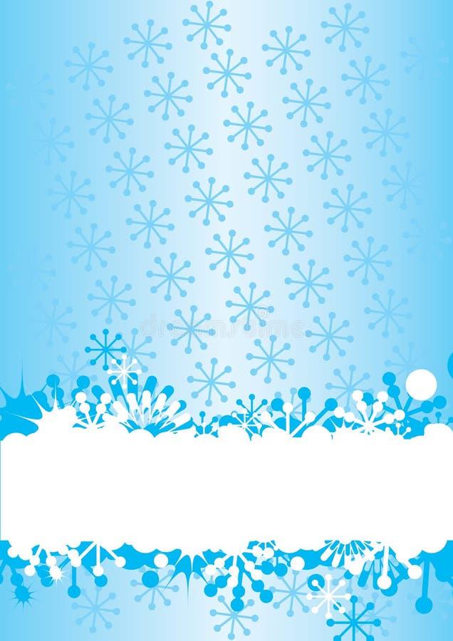 Fundo azul do inverno com flocos de neve ilustração stock