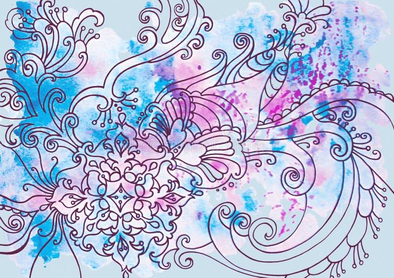 Fundo azul do inverno com testes padrões e manchas da aquarela imagens de stock royalty free
