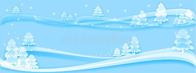 fundo azul do inverno, testes padrões da árvore do inverno, Feliz Natal, projeto do Natal, novo, 2019, bandeira ilustração stock
