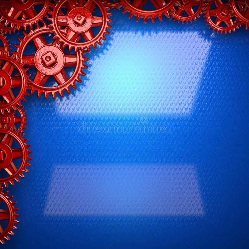 Fundo azul do metal com as engrenagens vermelhas da roda denteada ilustração stock