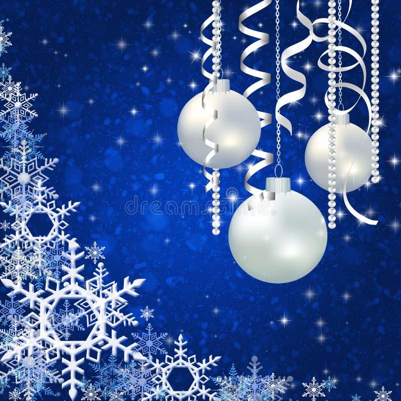 Fundo azul do Natal com flocos de neve ilustração royalty free