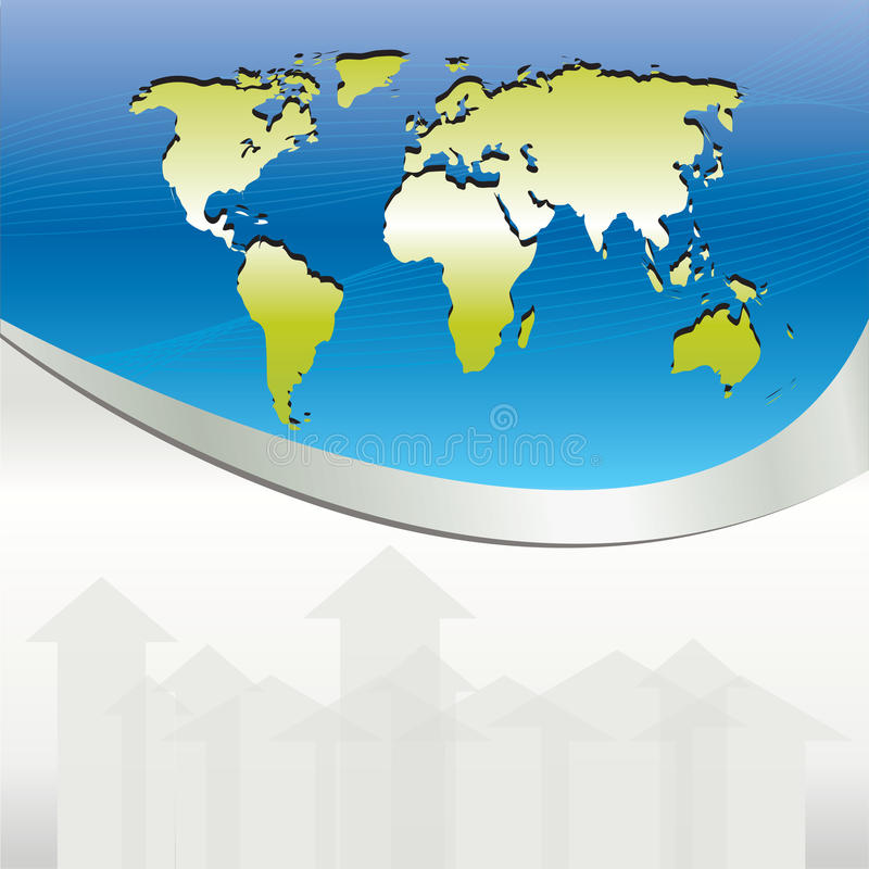 Fundo azul do negócio com mapas e setas ilustração stock