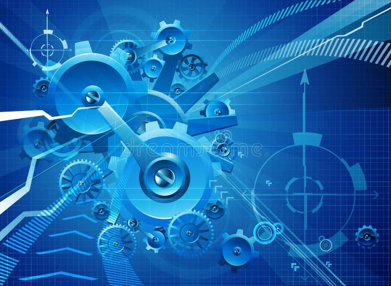 Fundo azul do negócio das rodas denteadas e das engrenagens ilustração stock