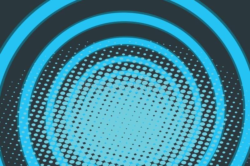Fundo azul do pop art do rádio do anel do círculo ilustração do vetor