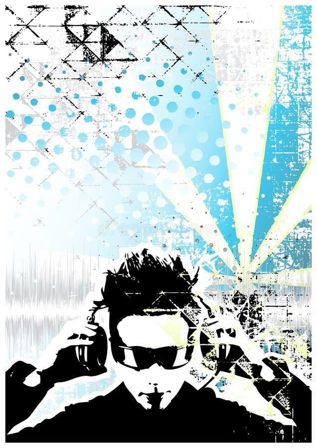 Fundo azul do poster do DJ ilustração stock