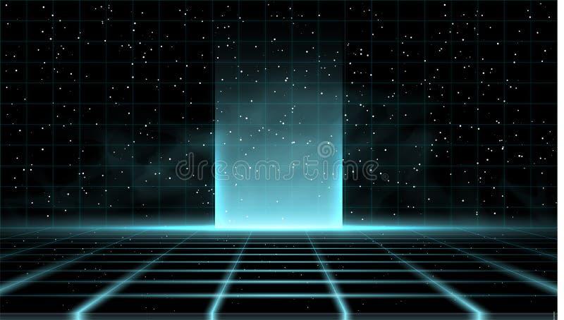 Fundo azul do retrowave do vaporwave de Synthwave com grande fulgor no meio, na grade do laser, no céu estrelado e no fumo azul ilustração royalty free